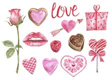 Watercolor Valentines day set. Pink lips, hearts, sweets and candies, isolated. Hand painted symbols of love on white background.