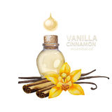 Watercolor vanilla oil Stock Photo