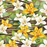 Watercolor vanilla pattern. Watercolor vanilla flowers. Hand painted floral seamless pattern Stock Photo