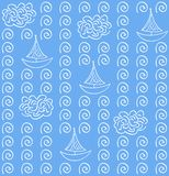 Watercolor vectoe blue color seamless pattern Royalty Free Stock Photography