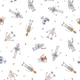 Watercolor vector baby pattern with robots. Beautiful vector seamless baby pattern with cute retro robots royalty free illustration
