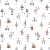 Watercolor vector baby pattern with robots. Beautiful vector seamless baby pattern with cute retro robots vector illustration