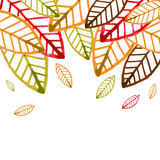 Watercolor vector background with colorful autumn leaves Stock Photos