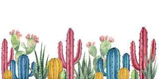 Watercolor vector background with desert and cacti. Watercolor vector horizontal background of landscape with desert and cacti. High quality illustration for Stock Image