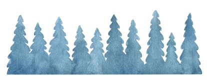 Watercolor vector background with fir trees. vector illustration