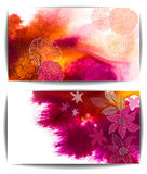 Watercolor vector banner, abstract hand drawn flowers Royalty Free Stock Photo