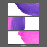 Watercolor vector banners pink and purple . Stock Photography