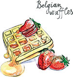 Watercolor vector Belgian waffles Royalty Free Stock Images