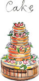 Watercolor vector big cake Royalty Free Stock Images
