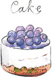 Watercolor vector cake Royalty Free Stock Image
