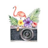 Watercolor vector card with camera, palm tree, flowers, tropical leaves and pink Flamingo isolated on white background. Illustration for design poster stock illustration
