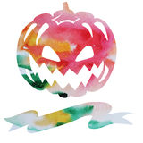 Watercolor vector card for halloween with pumpkin and place for Royalty Free Stock Photos
