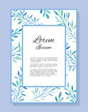 Watercolor vector card with place for your text and with  blue leaves Stock Image