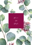 Watercolor vector card template design with eucalyptus leaves and flowers. Illustration for wedding invitation, save the date or greeting design. Spring or royalty free illustration