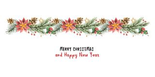 Watercolor vector Christmas banner with fir branches and flower poinsettias. Stock Photo