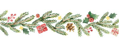 Watercolor vector Christmas banner with fir branches and place for text. Royalty Free Stock Images