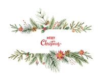 Watercolor vector Christmas banner with fir branches and place for text. Illustration for greeting cards and invitations isolated on white background Royalty Free Stock Image