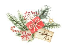 Watercolor vector Christmas bouquet with fgifts and fir branches. Royalty Free Stock Photo