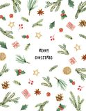 Watercolor vector Christmas card with fir branches and place for text. Illustration for greeting cards and invitations  on white background Stock Images