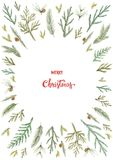 Watercolor vector Christmas card with fir branches and place for text. Illustration for greeting cards and invitations isolated on white background Royalty Free Stock Image
