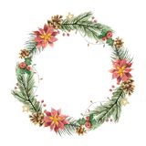 Watercolor vector Christmas frame with fir branches and flower poinsettias. Illustration for greeting cards and invitations isolated on white background Stock Photo