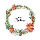 Watercolor vector Christmas frame with fir branches and flower poinsettias. Illustration for greeting cards and invitations isolated on white background Royalty Free Stock Images