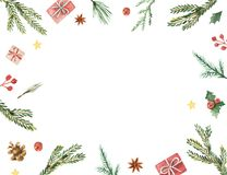 Watercolor vector Christmas frame with fir branches and place for text. Illustration for greeting cards and invitations isolated on white background Stock Photography