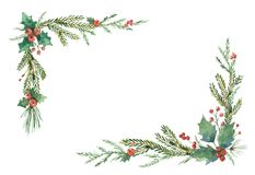 Watercolor vector Christmas frame with fir branches and place for text. Illustration for greeting cards and invitations isolated on white background Stock Photo