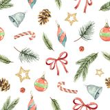 Watercolor vector Christmas seamless pattern with fir branches, gifts and cones. Stock Images