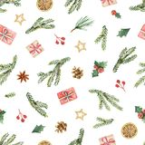 Watercolor vector Christmas seamless pattern with fir branches, gifts and cones. Illustration for greeting cards and invitations  on white background Stock Images