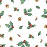 Watercolor vector Christmas seamless pattern with fir branches. Illustration for greeting cards and invitations isolated on white background Royalty Free Stock Photo