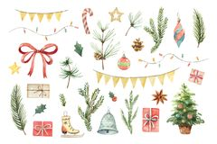 Watercolor vector Christmas set with fir branches, balls, gifts, garlands and bow. Illustration for your holiday design isolated on a white background Stock Image