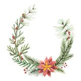 Watercolor vector Christmas wreath with fir branches and flower poinsettias. Royalty Free Stock Photography