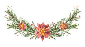 Watercolor vector Christmas wreath with fir branches and flower poinsettias. Illustration for greeting cards and invitations isolated on white background Stock Photography