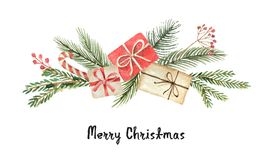 Watercolor vector Christmas wreath with fir branches, gifts and place for text. stock illustration