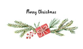Watercolor vector Christmas wreath with fir branches and place for text. Illustration for greeting cards and invitations isolated on white background Royalty Free Stock Image