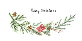 Watercolor vector Christmas wreath with fir branches and place for text. Illustration for greeting cards and invitations isolated on white background Stock Photo