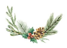 Watercolor vector Christmas wreath with fir branches and place for text. Illustration for greeting cards and invitations isolated on white background Royalty Free Stock Photo