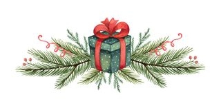 Free Watercolor Vector Christmas Wreath With Green Fir Branches And Gift. Royalty Free Stock Photography - 134356997