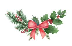 Free Watercolor Vector Christmas Wreath With Green Fir Branches And Red Bow. Stock Image - 130161361