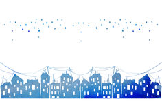 Watercolor vector city evening Royalty Free Stock Image