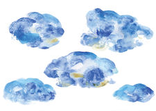Watercolor vector clouds, decorative structure clouds, blue splat structure Royalty Free Stock Images