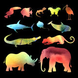 Watercolor vector different animals Royalty Free Stock Photos