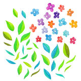 Watercolor vector floral elements Royalty Free Stock Photos