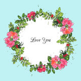 Watercolor vector floral frame. Vector floral frame of brier flowers colored by watercolor, hand drawn design elements Stock Photography