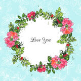 Watercolor vector floral frame. Vector floral frame of brier flowers colored by watercolor, hand drawn design elements Stock Photo