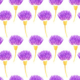 Watercolor vector floral seamless pattern with decorative violet thistle flowers. Spring Royalty Free Stock Images