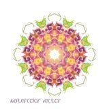 Watercolor Vector Flowers. Vector Watercolour Flowers. Mandala Royalty Free Stock Image