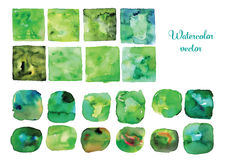 Watercolor vector frames and shapes, Green watercolor vector textures. Shabby drawn shapes Stock Photography
