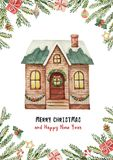Watercolor vector greeting card with Christmas house, spruce branches and gifts. Winter festive illustration for your design Royalty Free Stock Photography